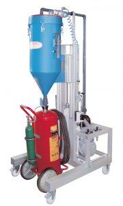 Máquina para la recarga de extintores de polvo con potente bomba de vacío PFF-SUMATIC-V 100/50