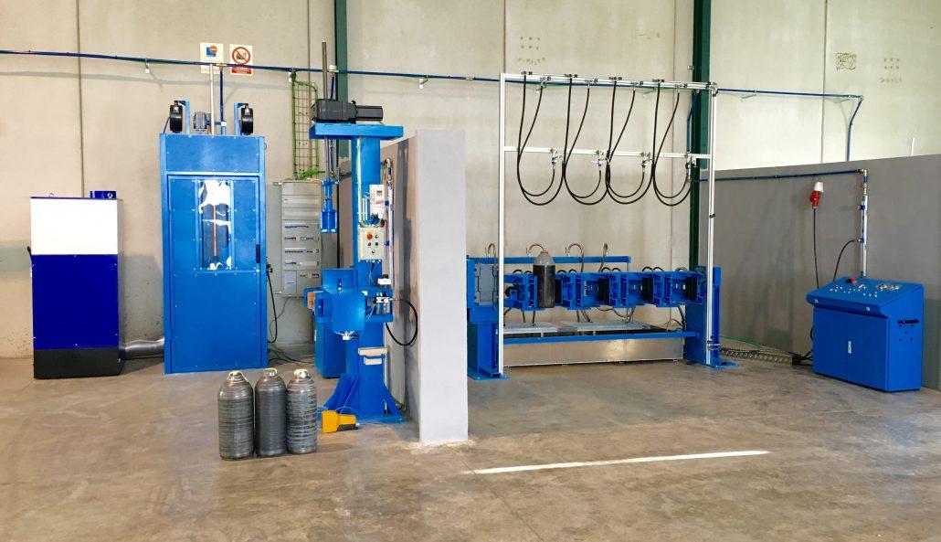 Máquinas para el mantenimiento de botellas de gases industriales
